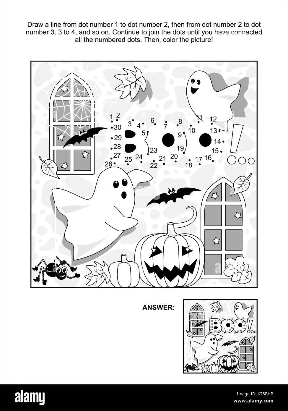 Halloween Themed Connect The Dots Picture Puzzle And Coloring Page