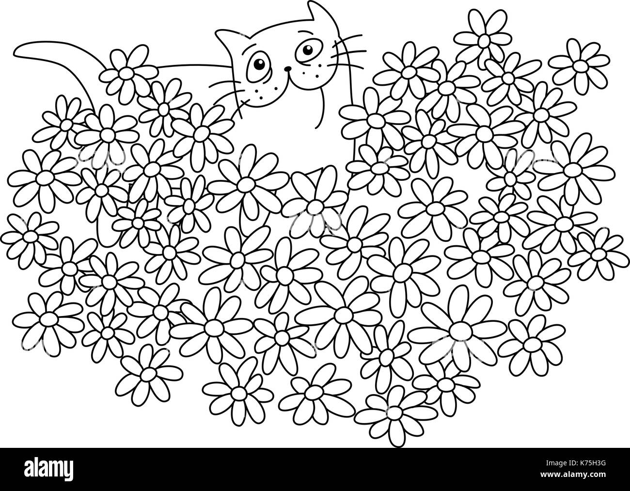 Cat With A Bouquet Of Flowers In Heart Shape Funny Cartoon Cool Love Character White Color Background Vector Illustration