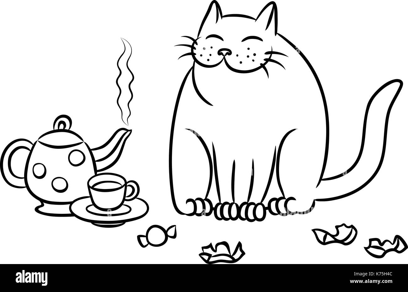 tea with the cat. funny cartoon vector illustration - Stock Image