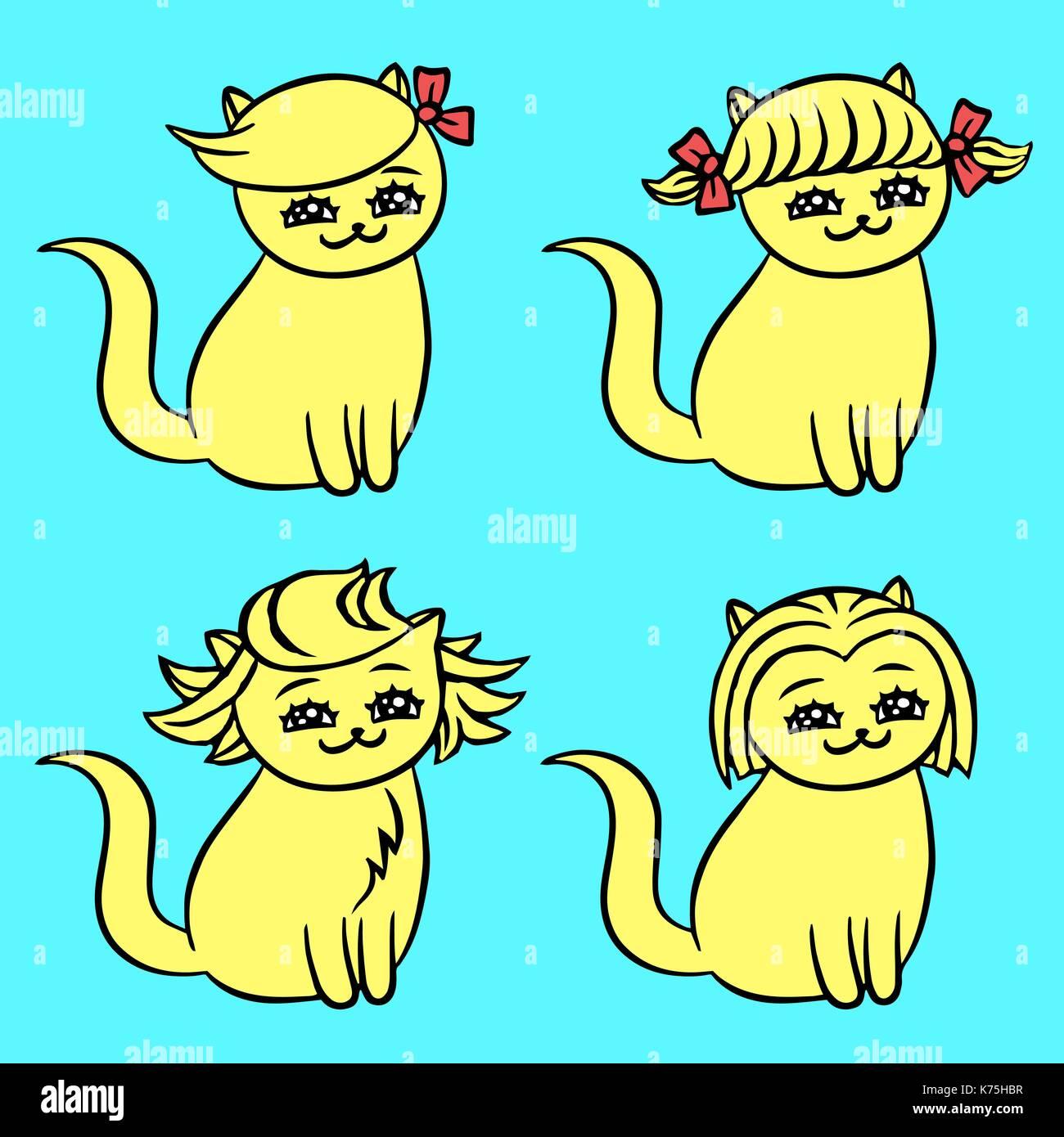 Cartoon Blonde Hairstyles Kawai Cats Funny Cartoon Fur Character