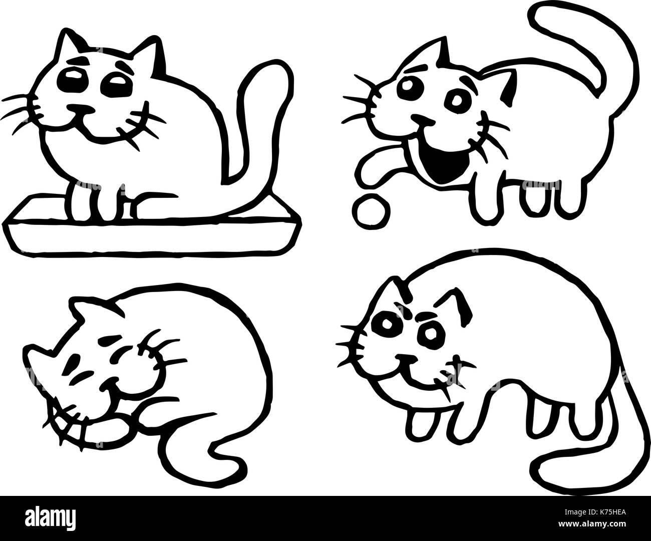 Cute Cats Emoticons Set Funny Cartoon Cool Character Contour