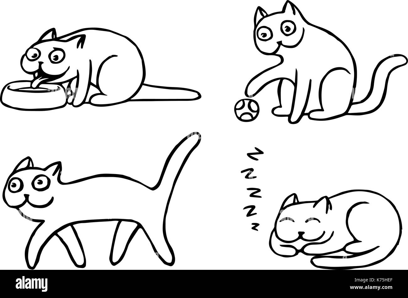 Pussycat emoticons set. Funny cartoon cool character. Contour digital drawing cute cats. White color background. Cheerful pet collection. Vector illus - Stock Image