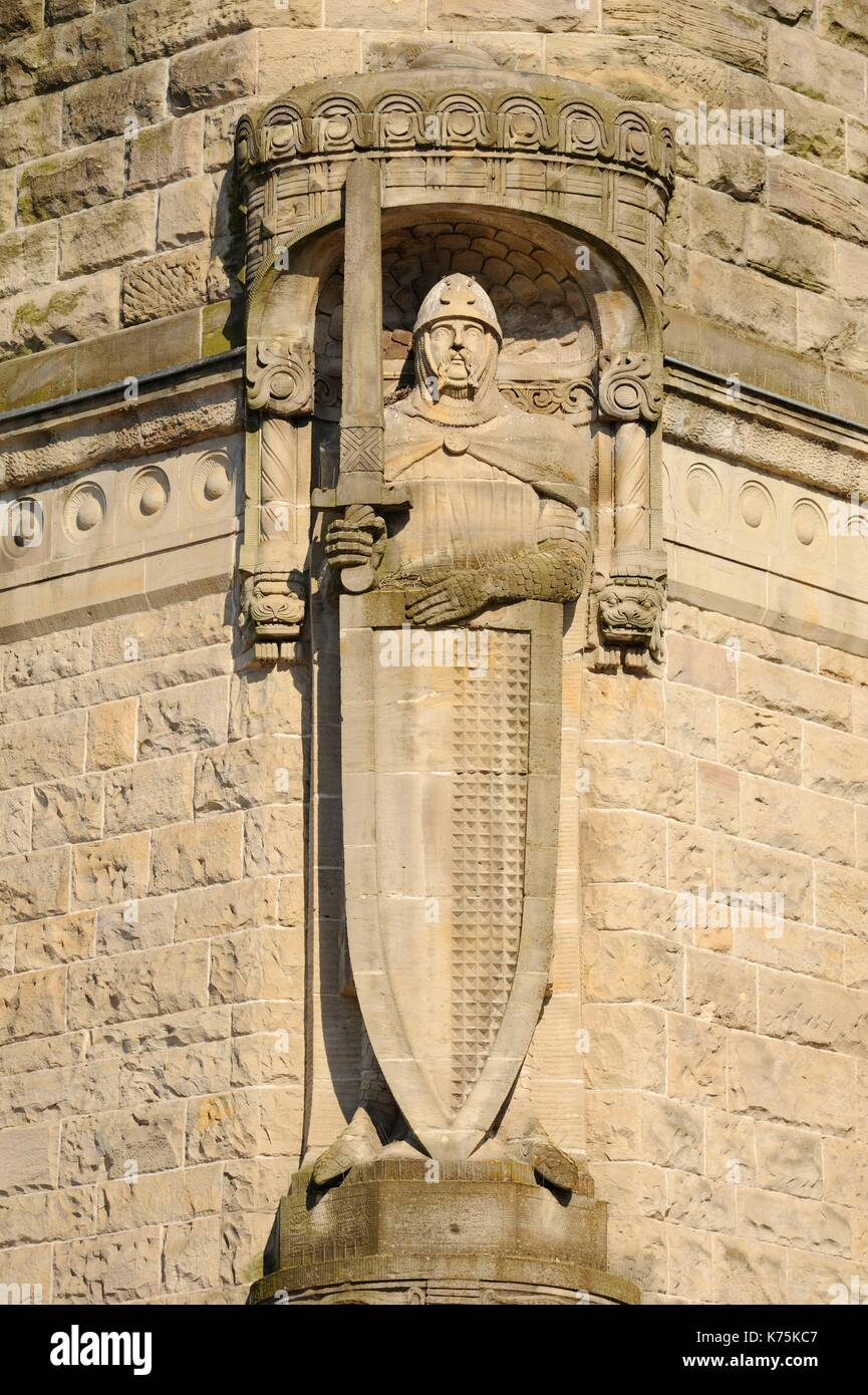 France, Moselle, Metz, railway Station of Metz-ville inaugurated in 1908 and elected in 2017 most beautiful railway station of France by Internet users following a competition organized on Facebook by Gares & Connexions, Knight statue on the facade - Stock Image