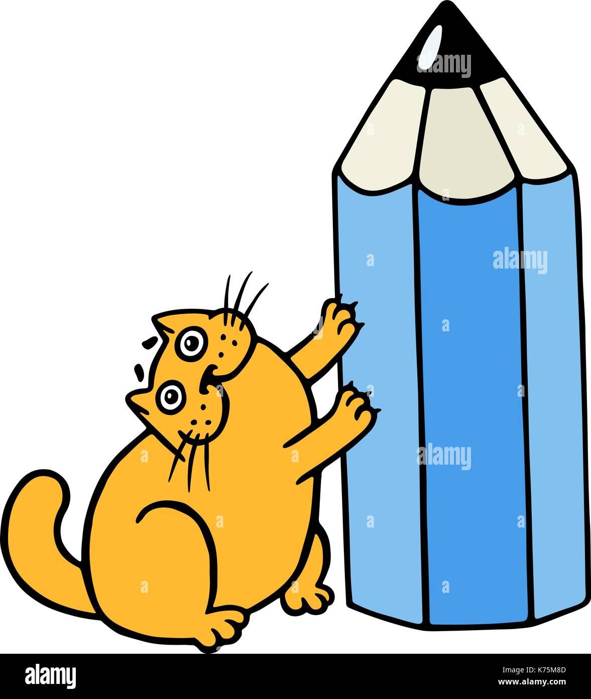 f6e0c59c0e0 Cute orange fat cat hugging blue pencil. Funny cartoon cool character.  Cheerful pet.