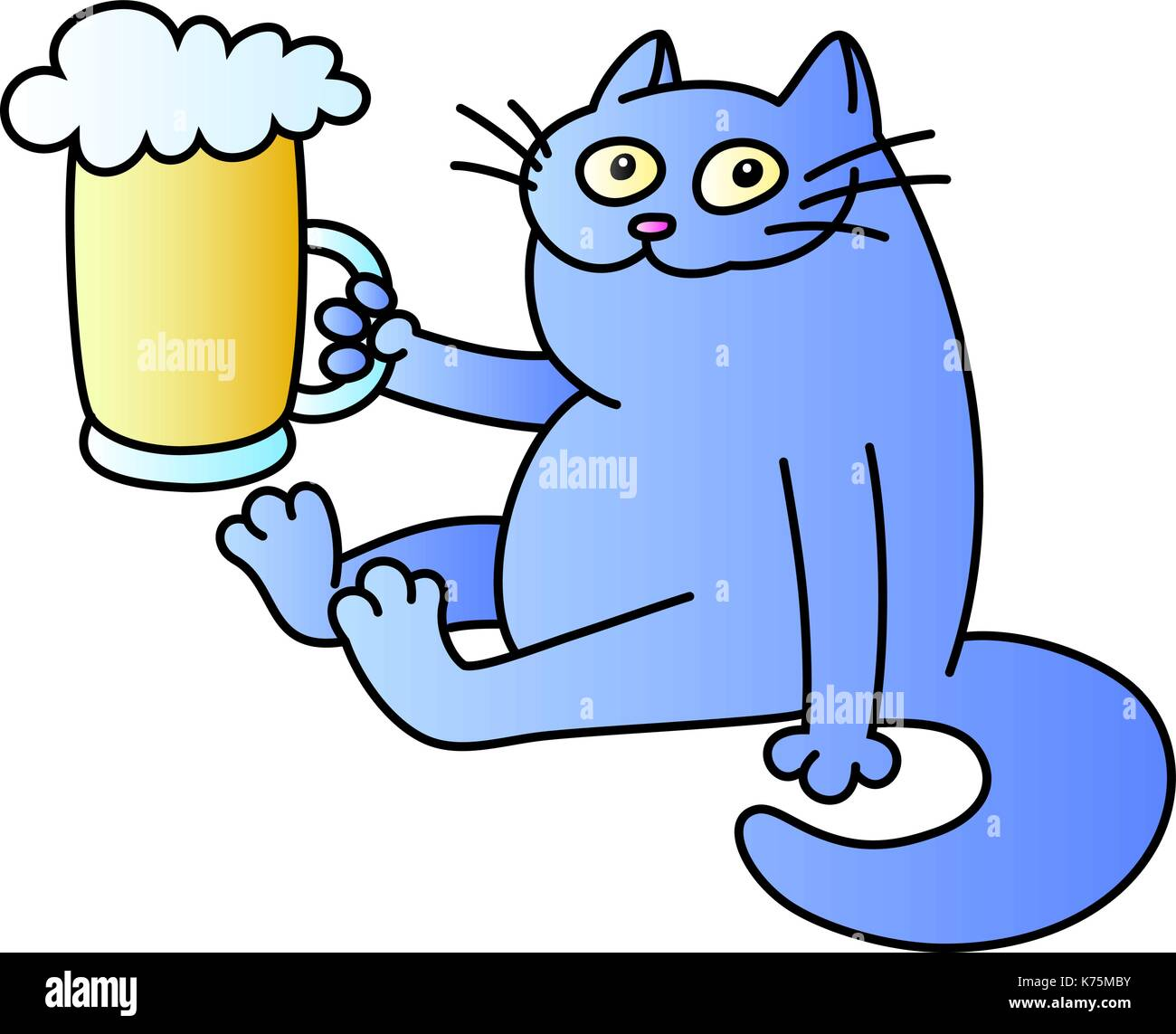 cat with a mug of beer. funny cartoon character. good evening. blue color. isolated vector illustration. - Stock Image
