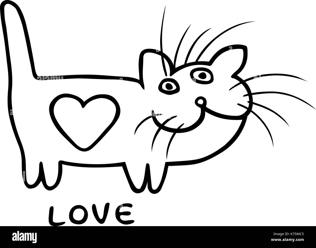 Black and white love heart cat on valentines day funny cartoon cool character contour freehand digital drawing cute character white color backgrou