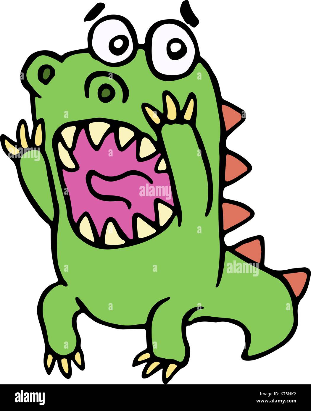 scared dinosaur. vector illustration. cute screaming character. - Stock Image