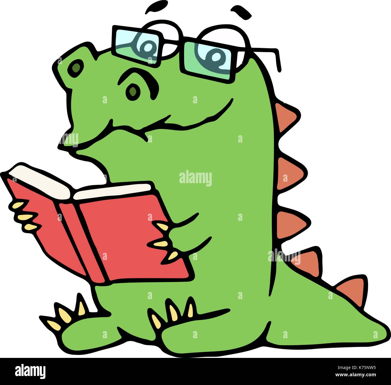 Funny dinosaur sits and reads a book. Vector illustration. Glasses on a separate layer. - Stock Image