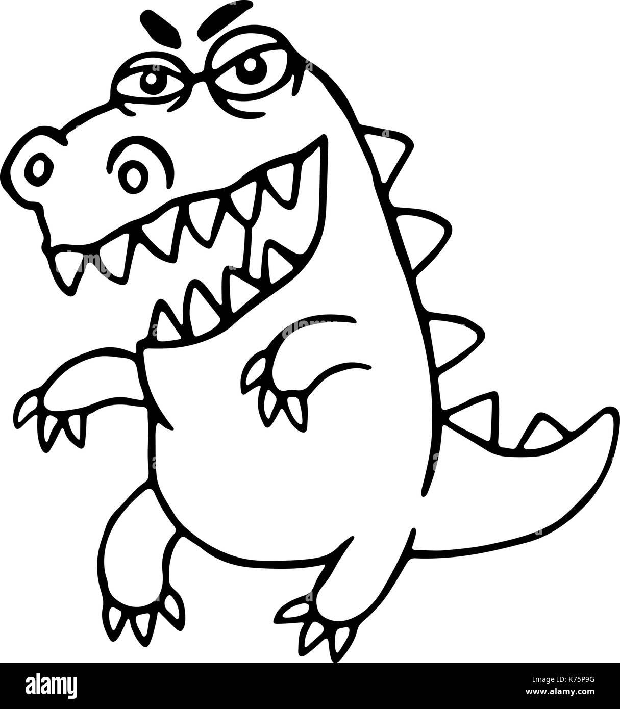 Angry cartoon dragon. Vector illustration. Cute imaginary animal character. - Stock Vector