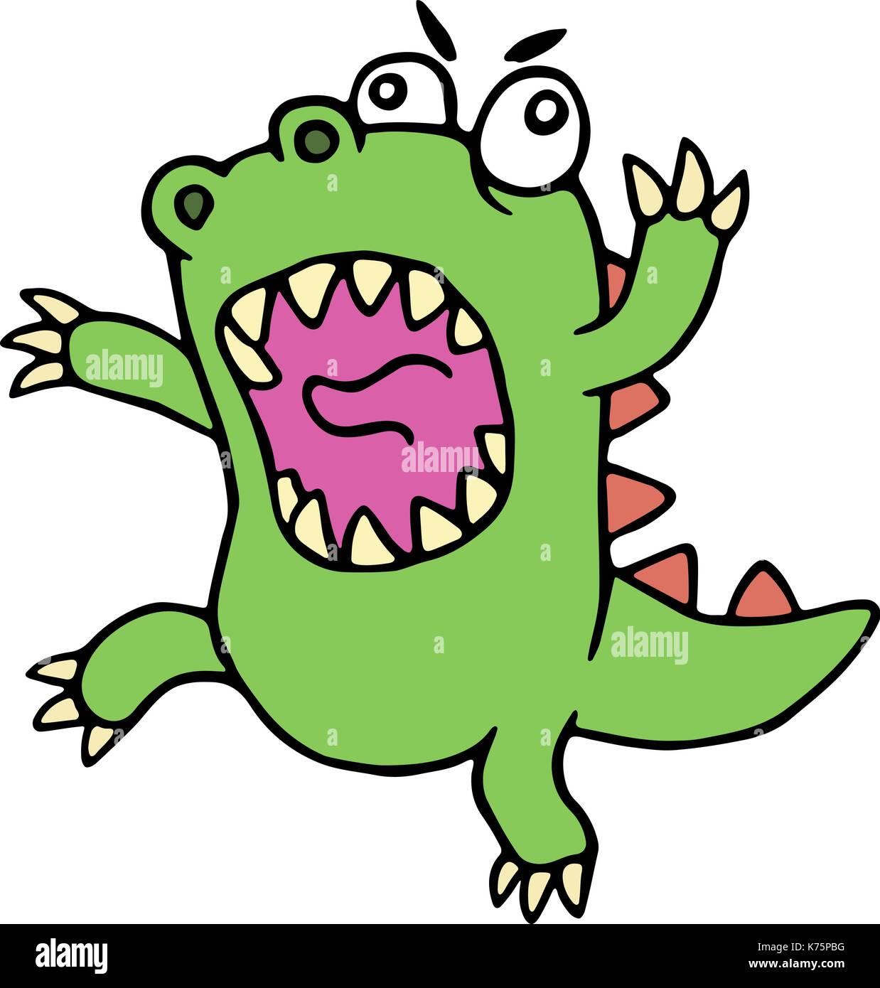 Mad cartoon dinosaur. Vector illustration. Cute imaginary animal character. - Stock Vector