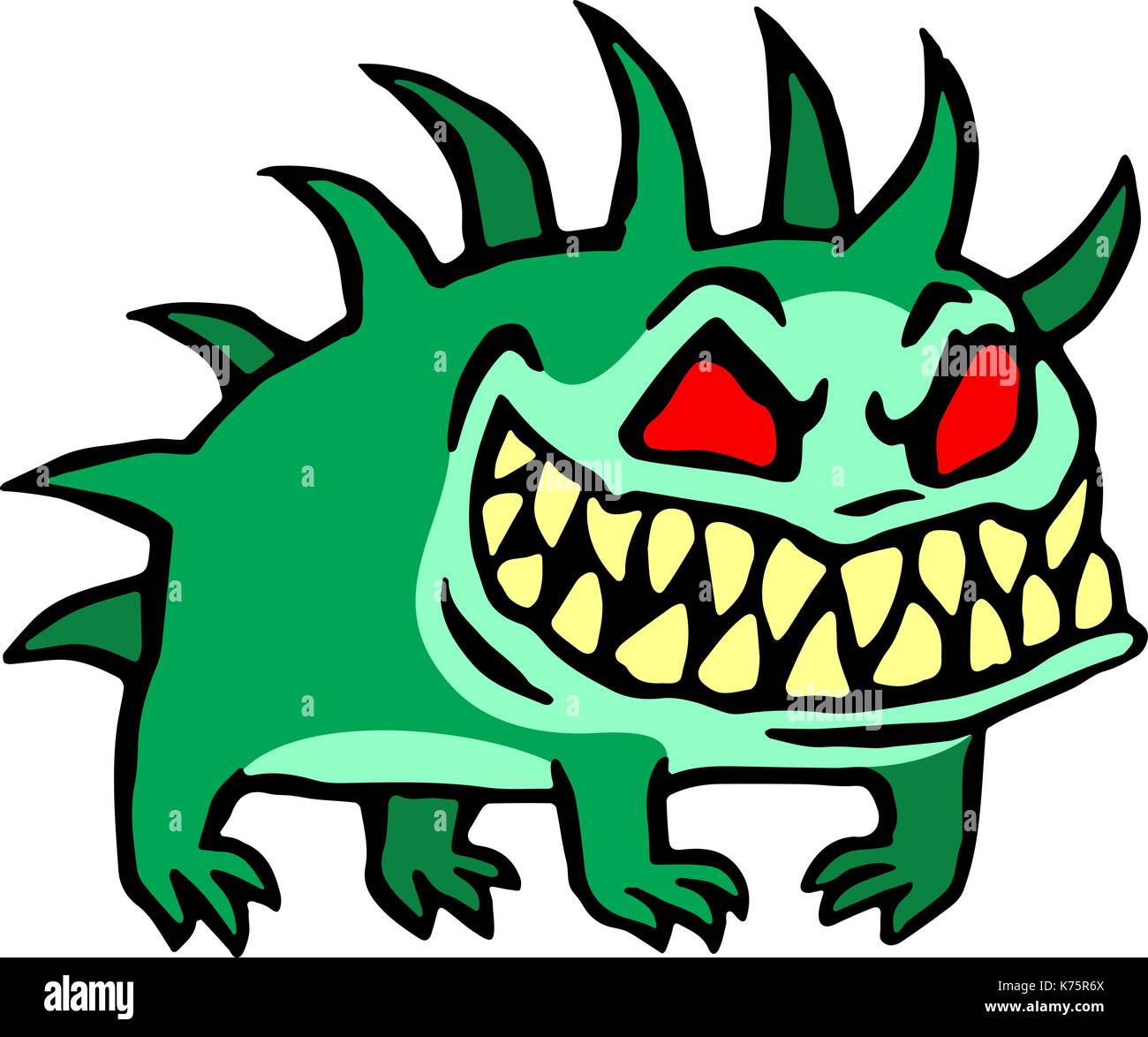 Small dog from hell. Cute monster growls. Vector illustration. - Stock Image