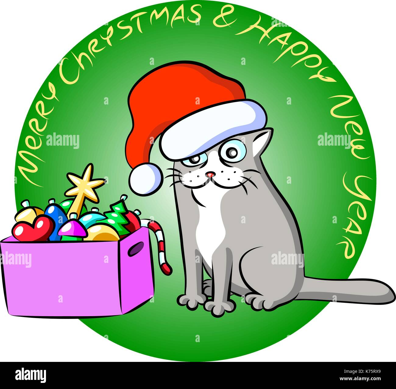 Christmas grey cat and a nox of toys. Vector Illustration. Cheerful celebration pet character. - Stock Image