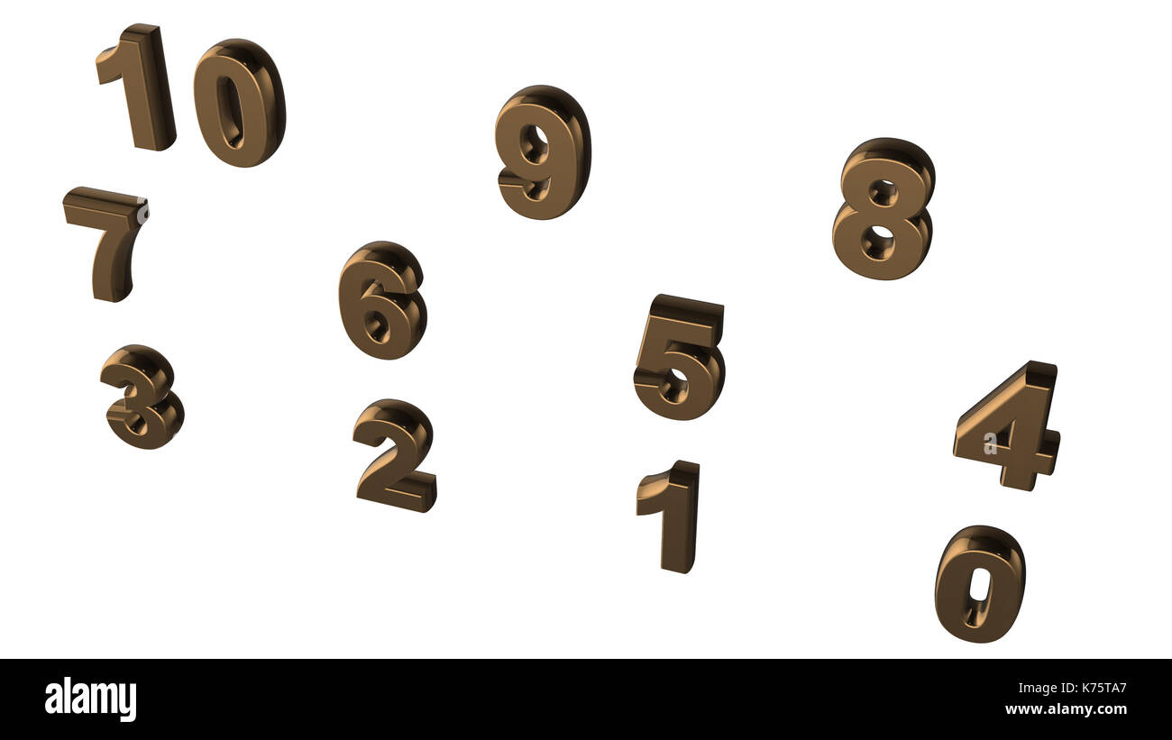 Abstract background from set of three-dimensional numbers - Stock Image