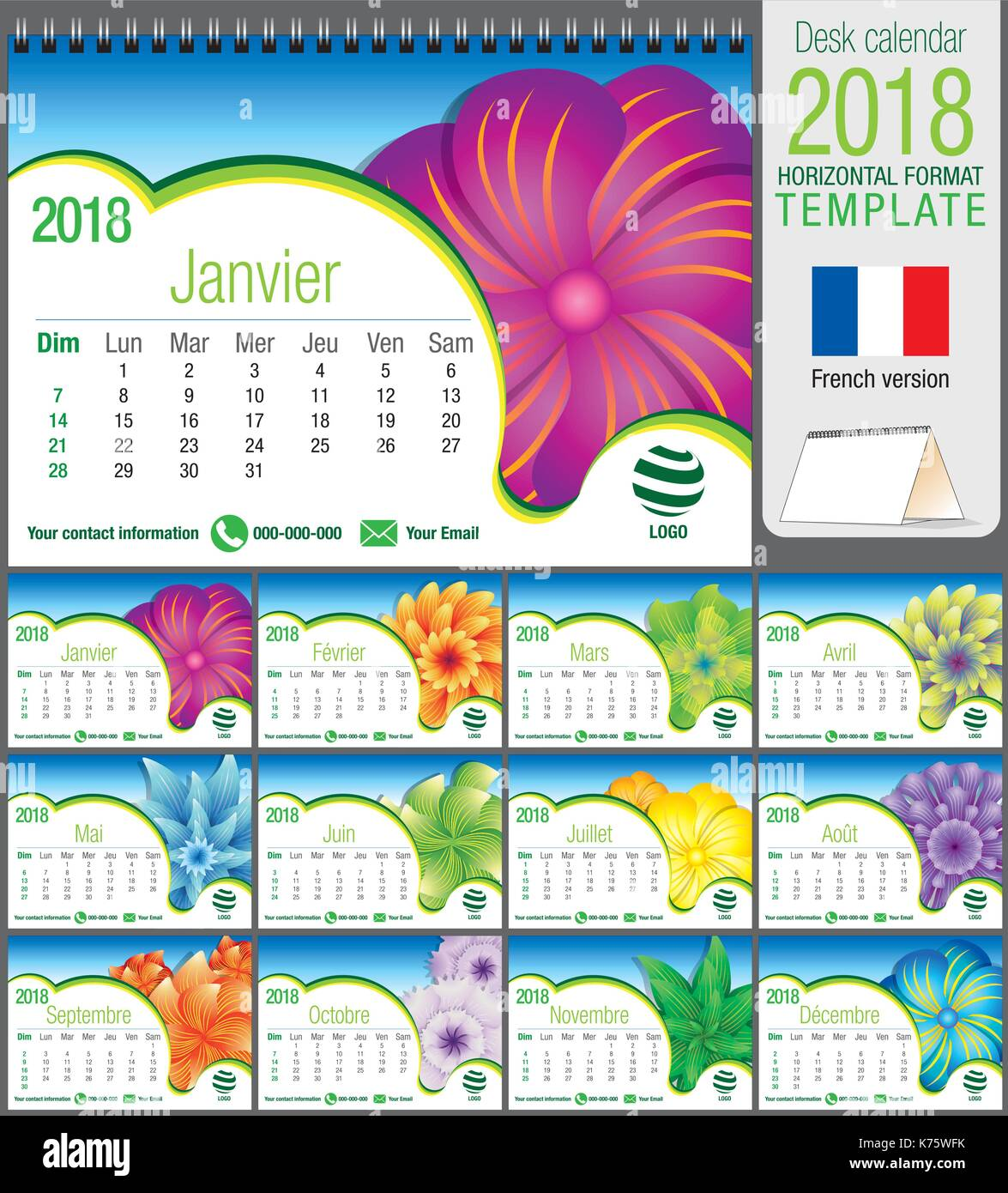 desk triangle calendar 2018 template with abstract floral design size 21 cm x 15 cm format a5 vector image french version