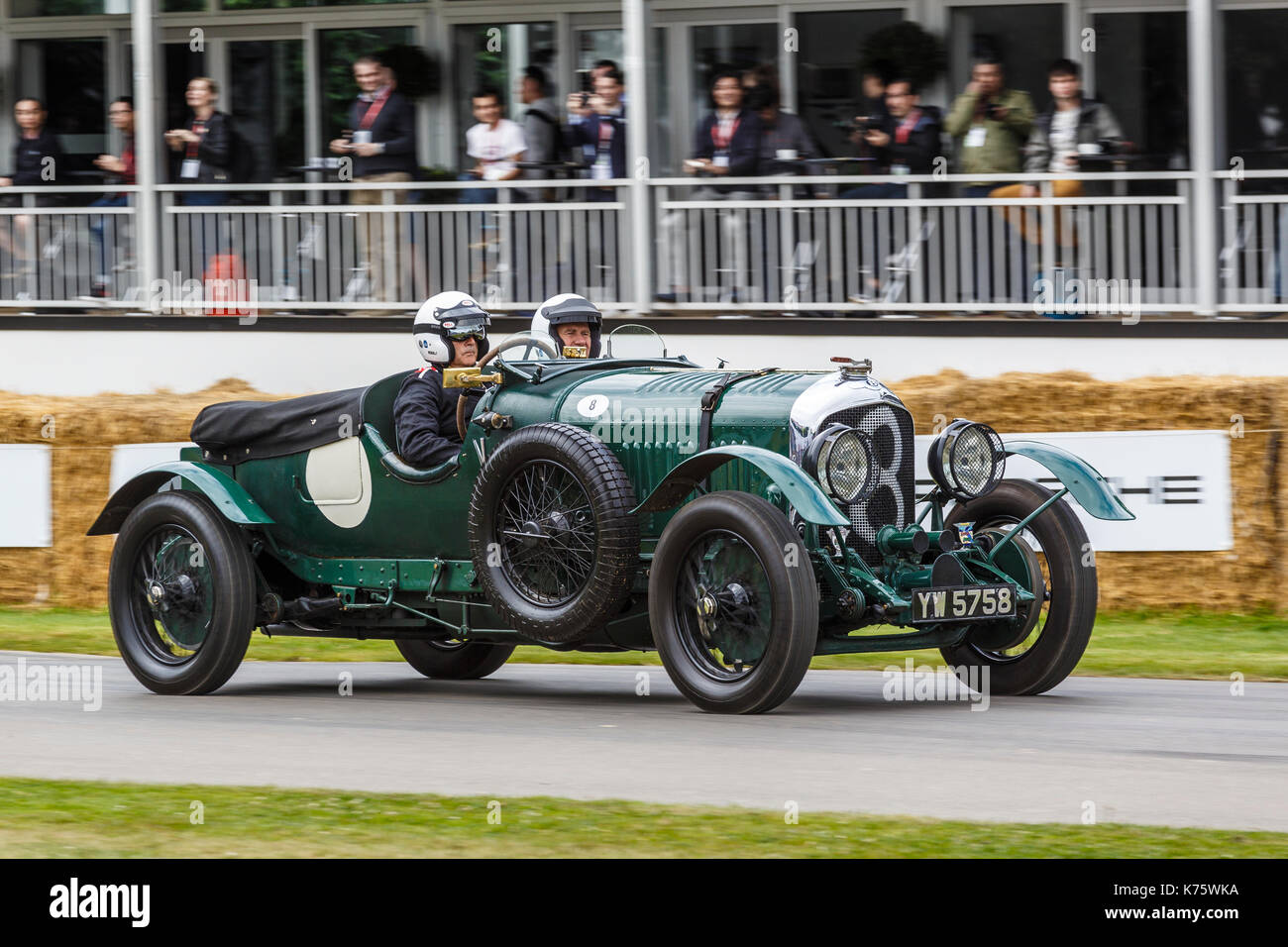 1929 Bentley 4.5 litre Brooklands racer with driver Ian Andrews at the 2017 Goodwood Festival of Speed, Sussex, UK. - Stock Image