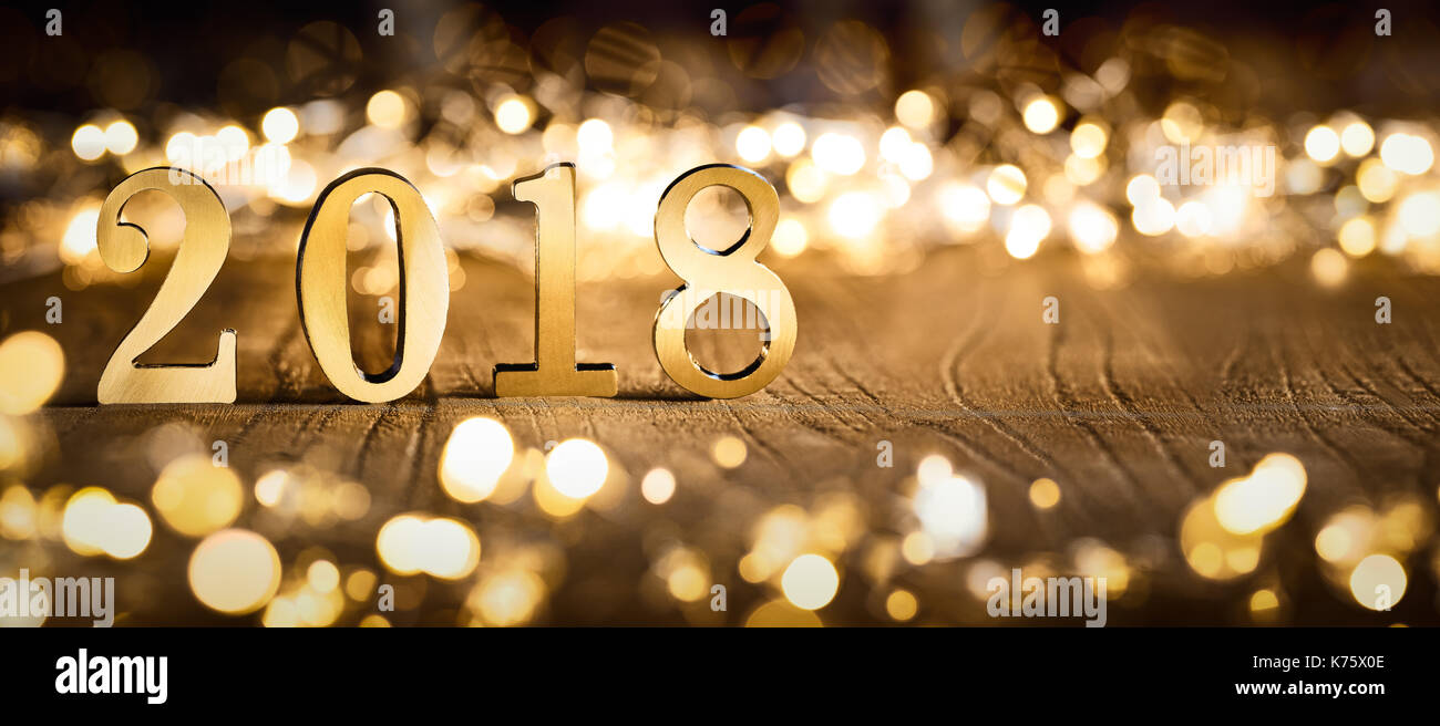 happy new year 2018 festive lights background stock image