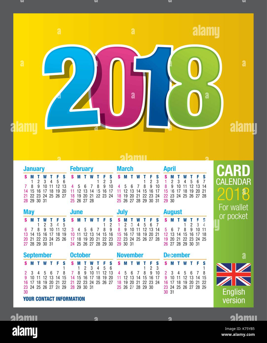 Useful Two Sided Card Calendar 2018 For Wallet Or Pocket In Full