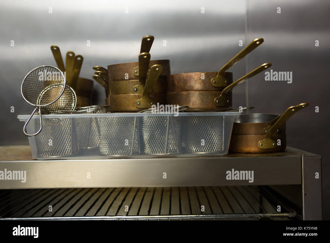 Close-up of kitchen utensils at restaurant - Stock Image