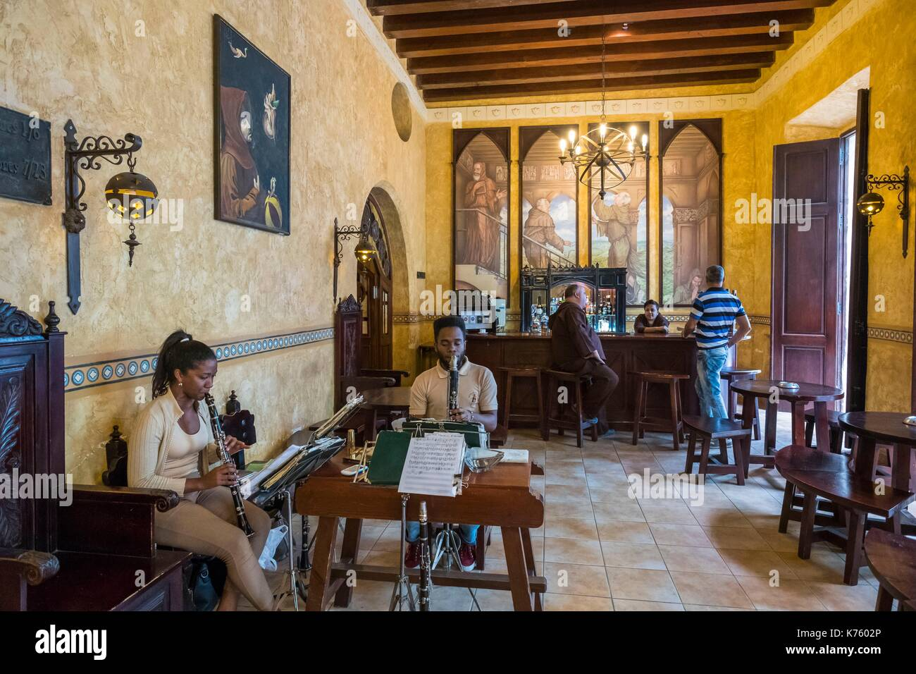 Cuba, Havana, Habana Vieja district (UNESCO World Heritage site), calle Teniente Rey (Brasil), Los Frailes hotel where the employees are dressed as Franciscan monks - Stock Image