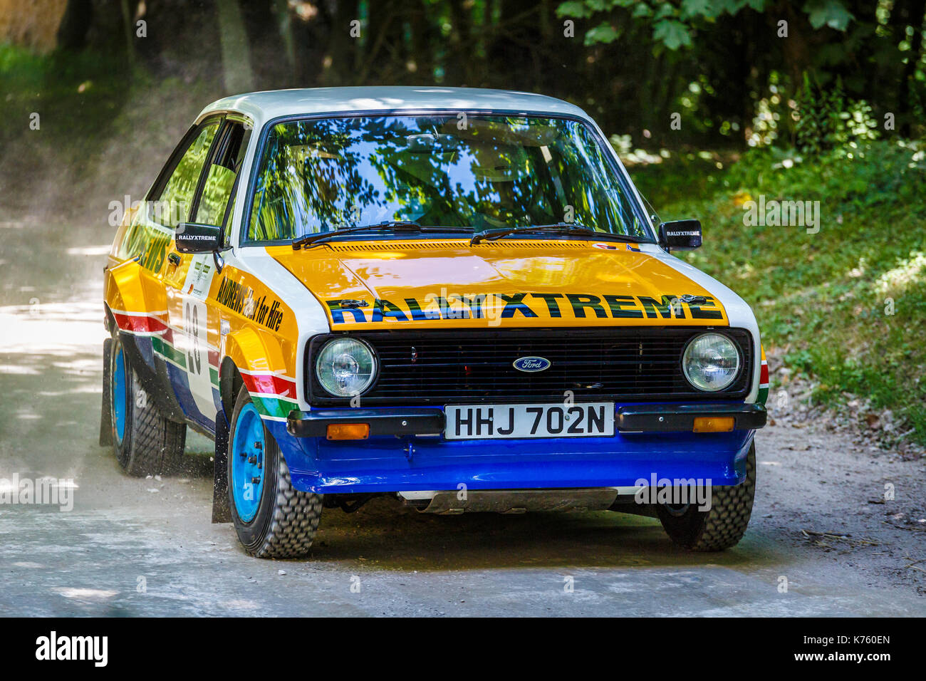 1981 Ford Escort Mk2 rally car on the forest stage with driver Paul ...