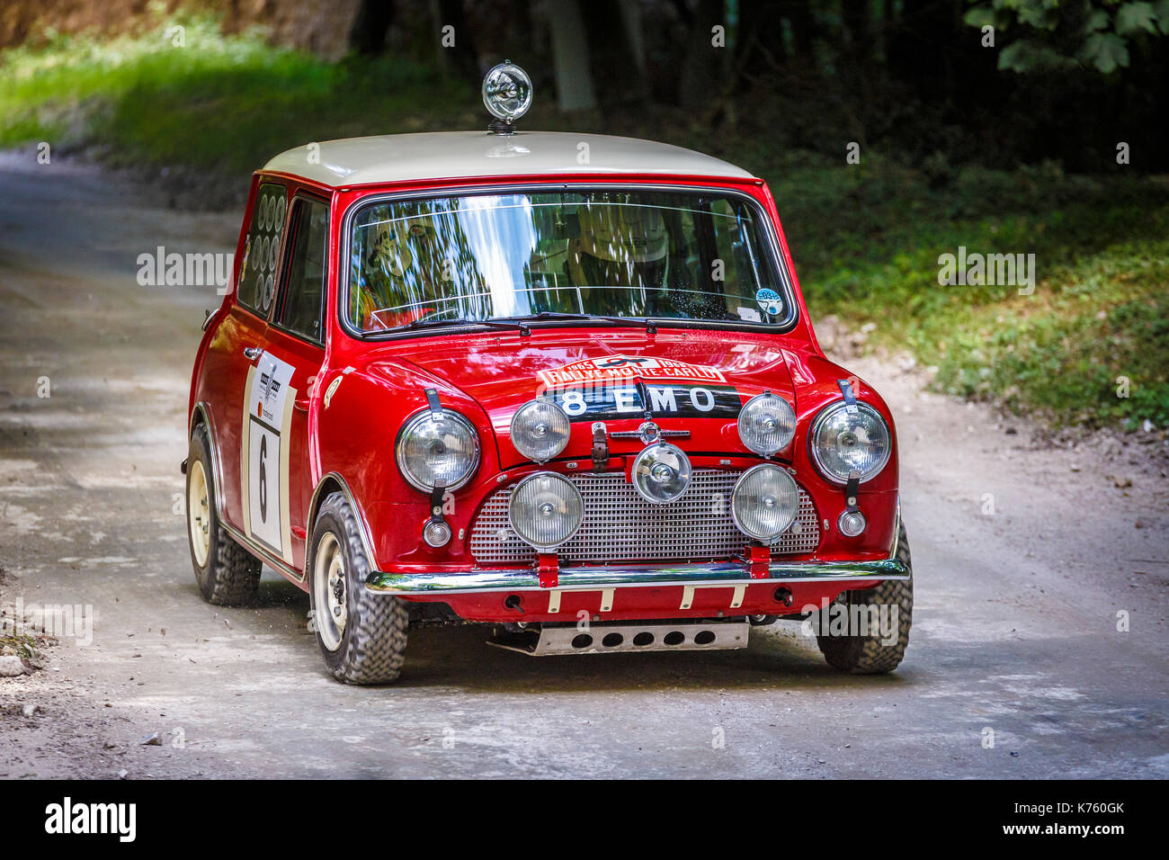 1963 Morris Mini Cooper S rally car with driver James Martin on the ...