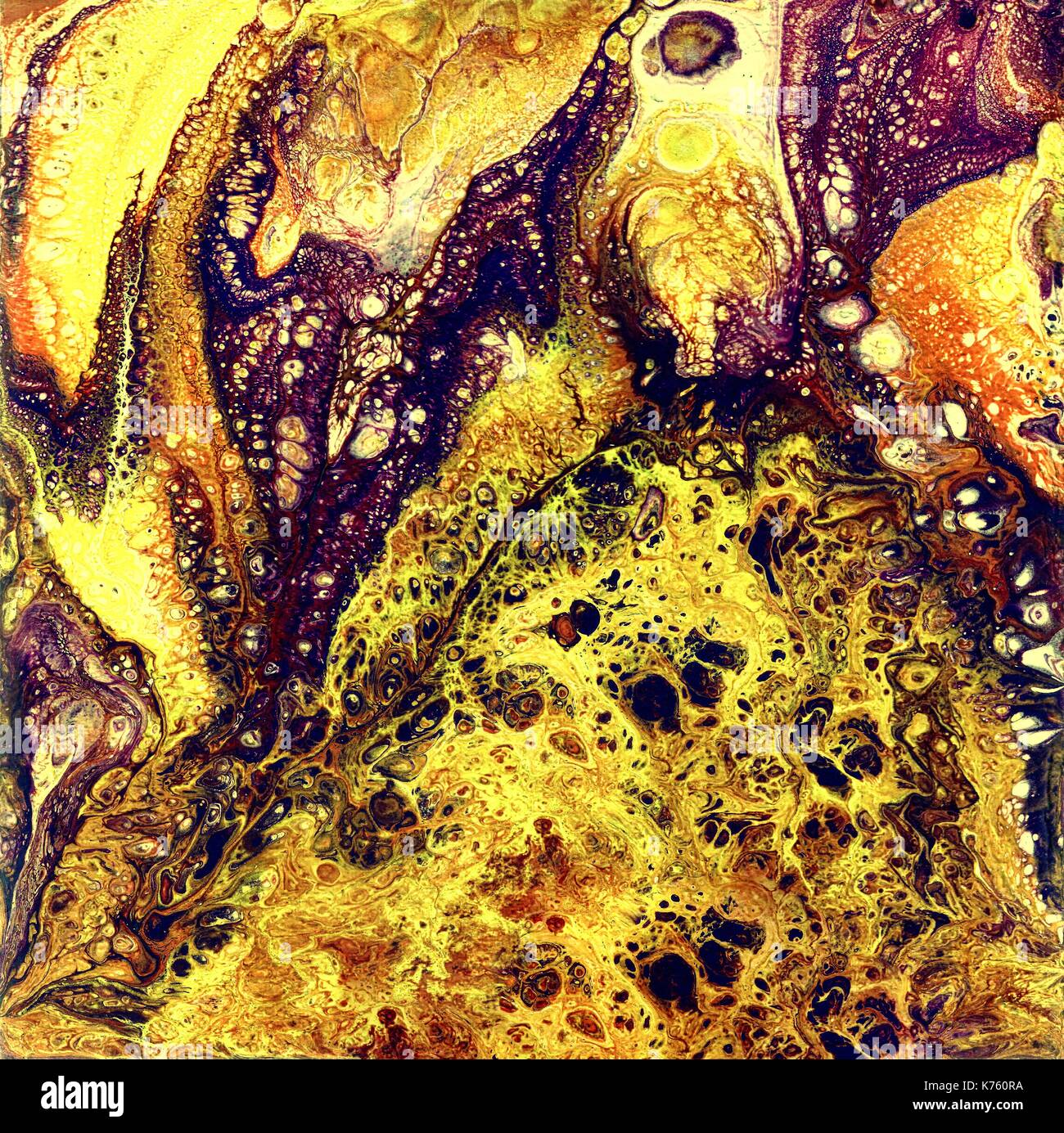 Liguid watercolor and ink abstract gold painting. Wet panted illustration, abstract background and wallpaper. Yellow, gold and magenta colors - Stock Image
