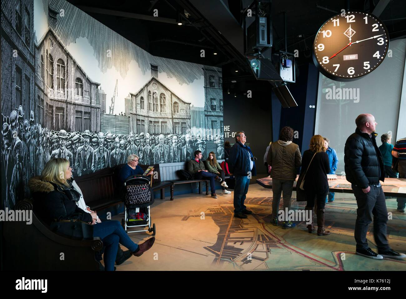 United Kingdom, Northern Ireland, Belfast, Belfast Docklands, Titanic Belfast Museum, interior - Stock Image