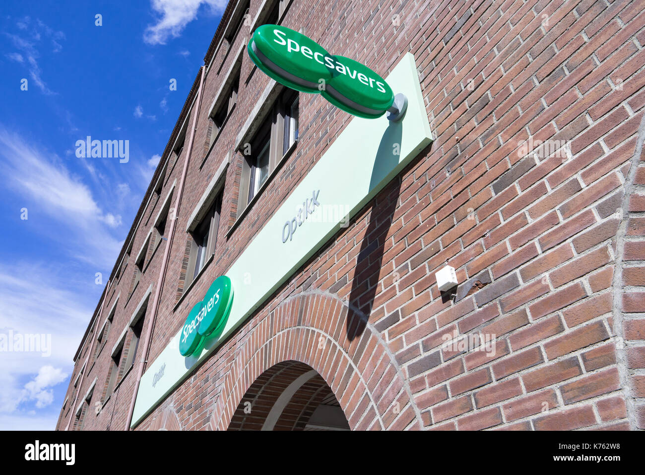 Specsavers branch in Trondheim, Norway. Specsavers is a British optical retail chain, operating globally, which offers optician services. - Stock Image