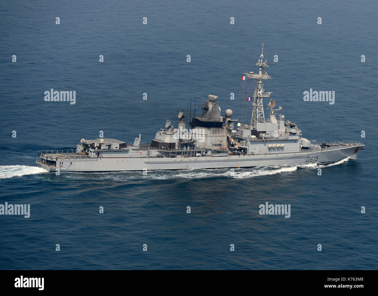 French Navy air defense destroyer FS Jean Bart (D615) - Stock Image