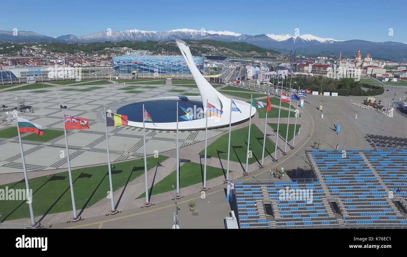 SOCHI, RUSSIA Sochi Olympic Fire Bowl in the Olympic Park Aerial. Sochi Olympic Fire Bowl in the Park. Central stella - Stock Image