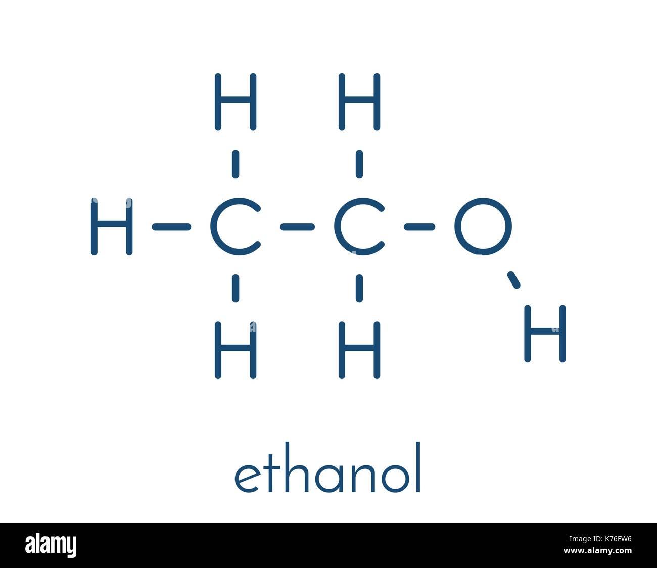 Alcohol (ethanol, ethyl alcohol) molecule, chemical structure. Skeletal formula. - Stock Image