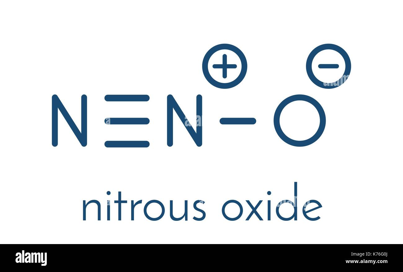 Nitrous oxide (NOS, laughing gas, N2O) molecule. Used in surgery as analgesic and anesthetic drug, and also as oxidizer in rocket motors and combustio - Stock Vector