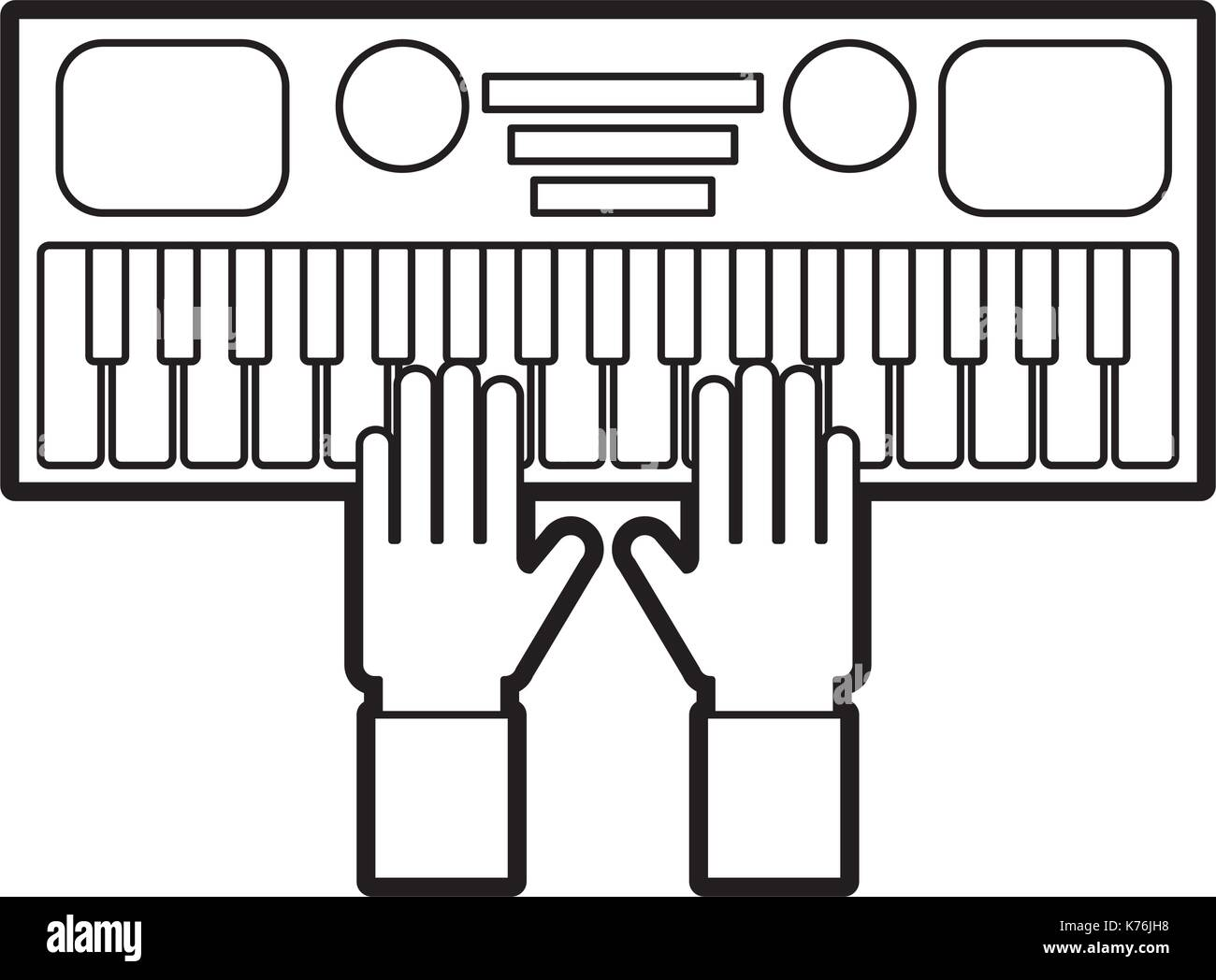 hand with synthesizer electronic instrument keyboard - Stock Image