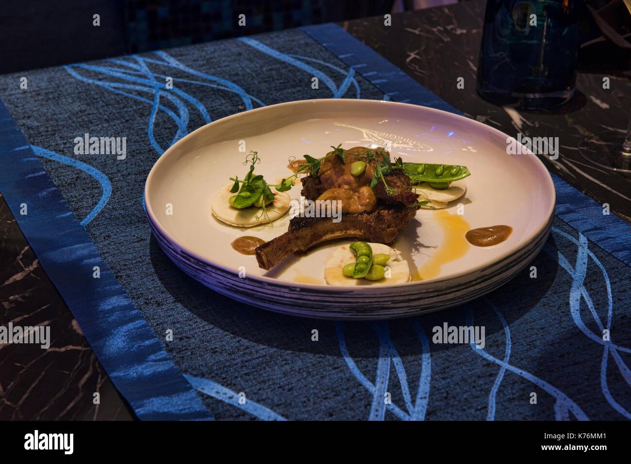 Elegant lamb chops, molecular cuisine, Bangkok, Thailand - Stock Image