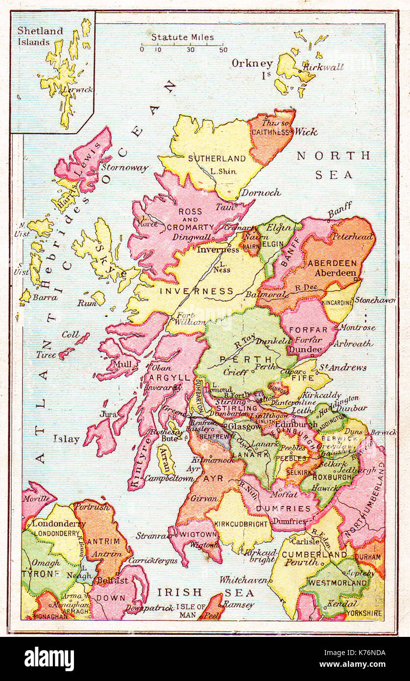 A 1914 vintage school atlas colour map of  Scotland showing counties etc. - Stock Image
