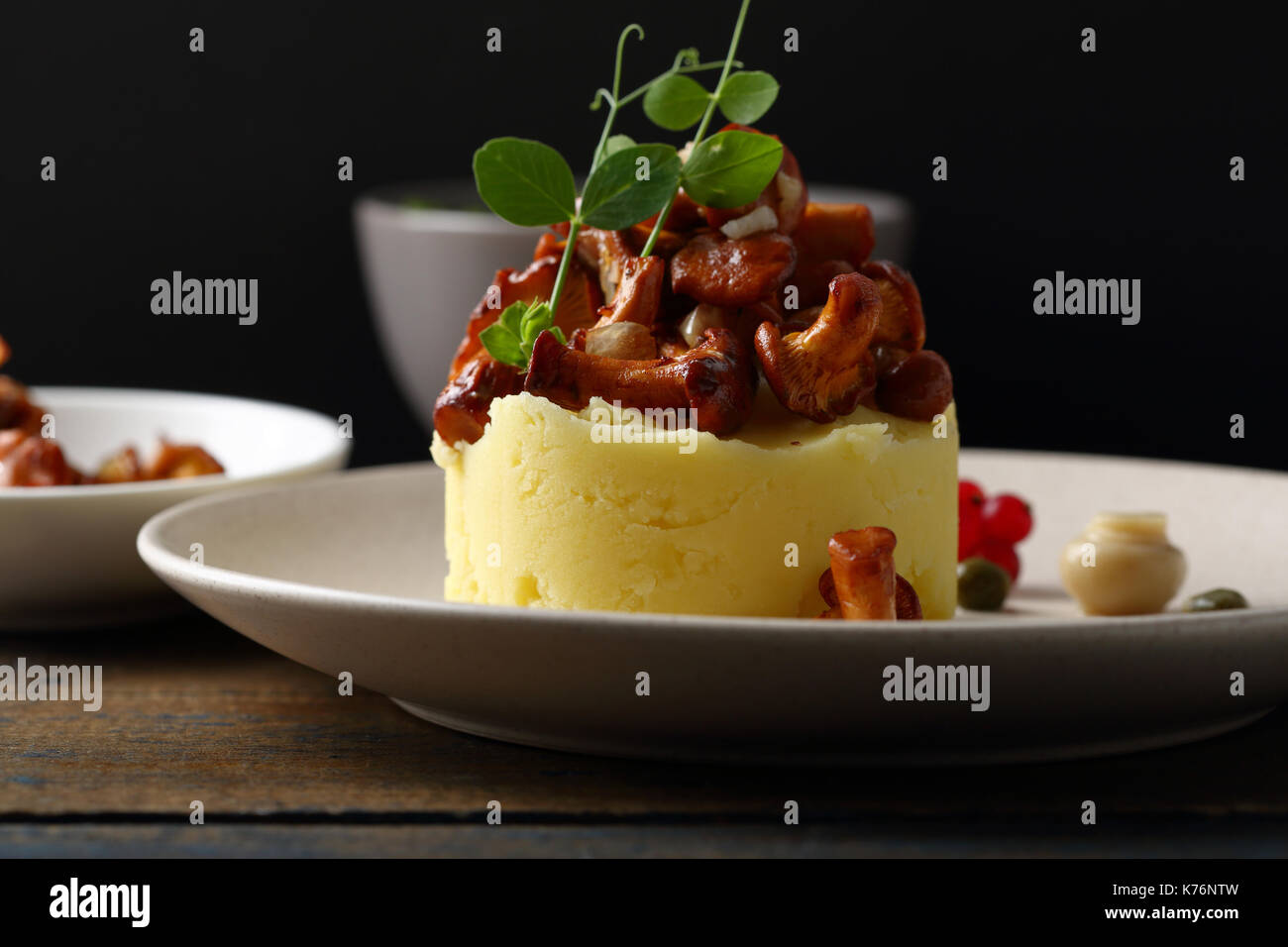 Potato with roasted mushrooms, food closeup - Stock Image