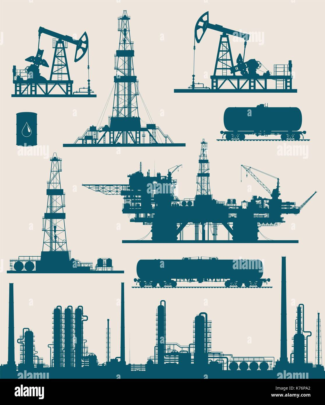Oil and gas industry set - Stock Vector