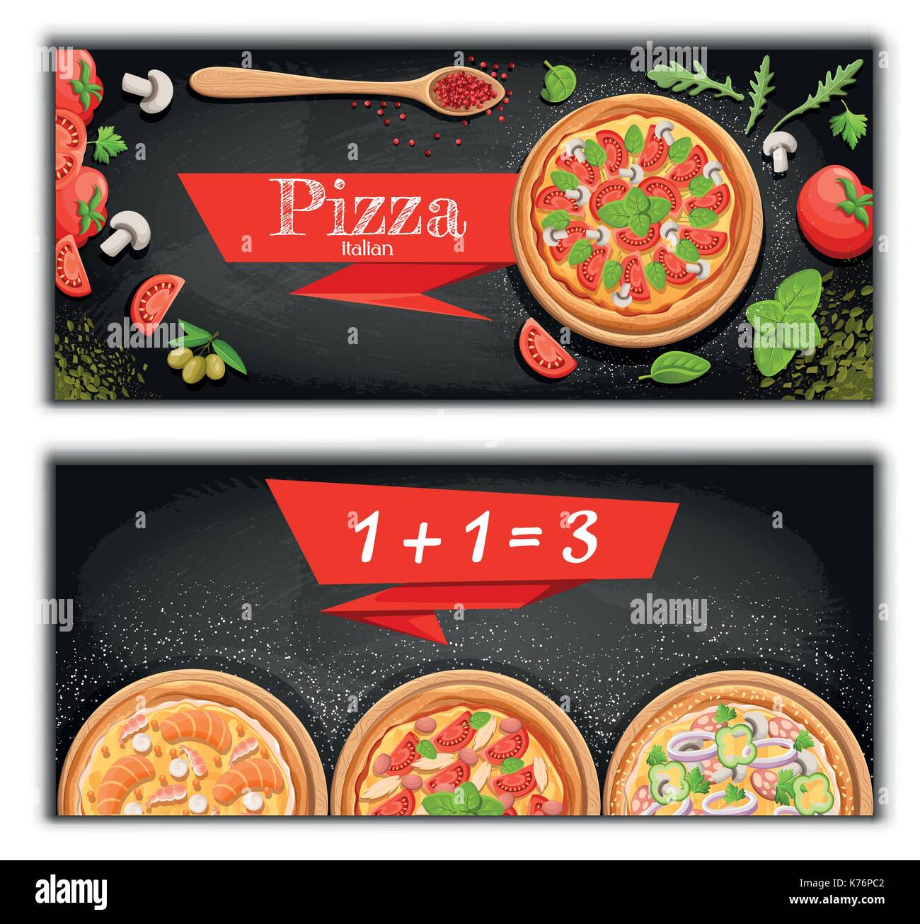 Pizza Menu Chalkboard Cartoon Background With Fresh Ingredients Vector Illustration Pizzeria Flyer Two Horizontal Banners Ingr