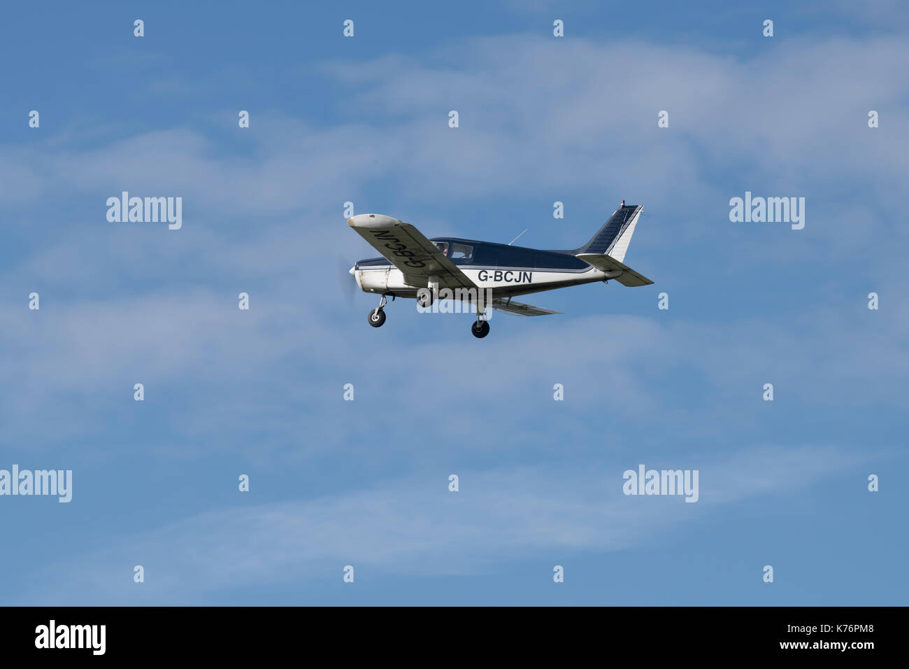 Piper PA28 takes off from Bristol Airport - Stock Image