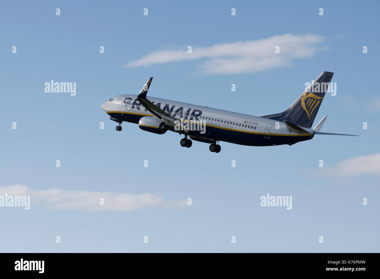 Ryanair Boeing 737 taking off from Bristol Airport Stock Photo
