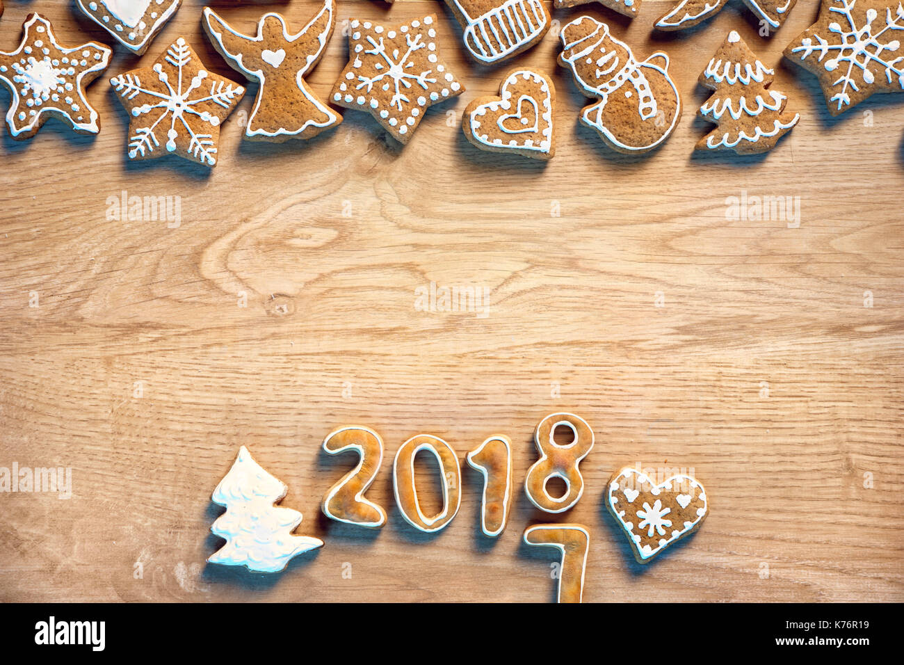 Merry X-mas! Homemade cookies on wooden background. Copy space for your text. Top view. High resolution product - Stock Image
