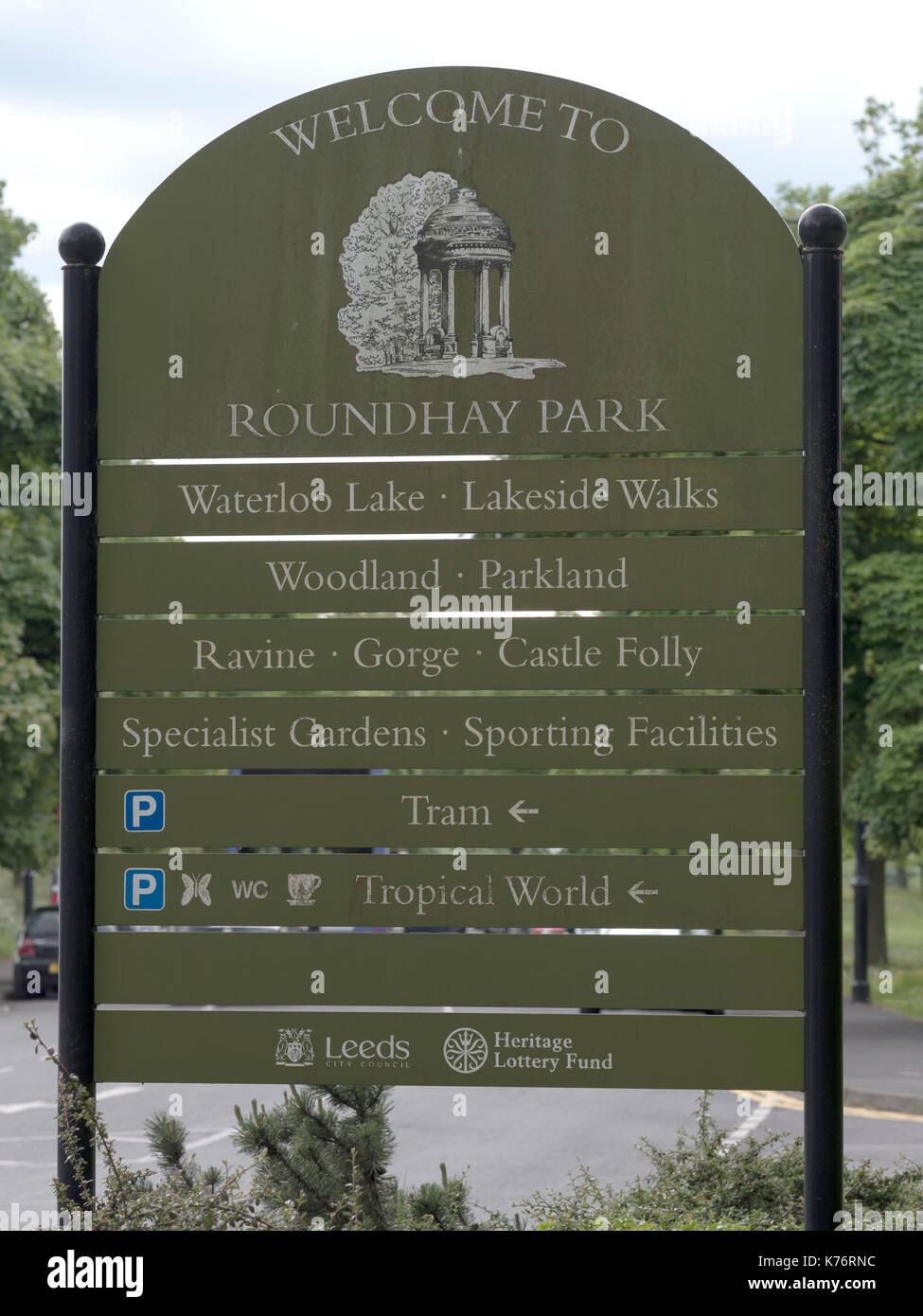 Welcome to sign at Roundhay Park, Leeds, Yorkshire, England, UK Stock Photo