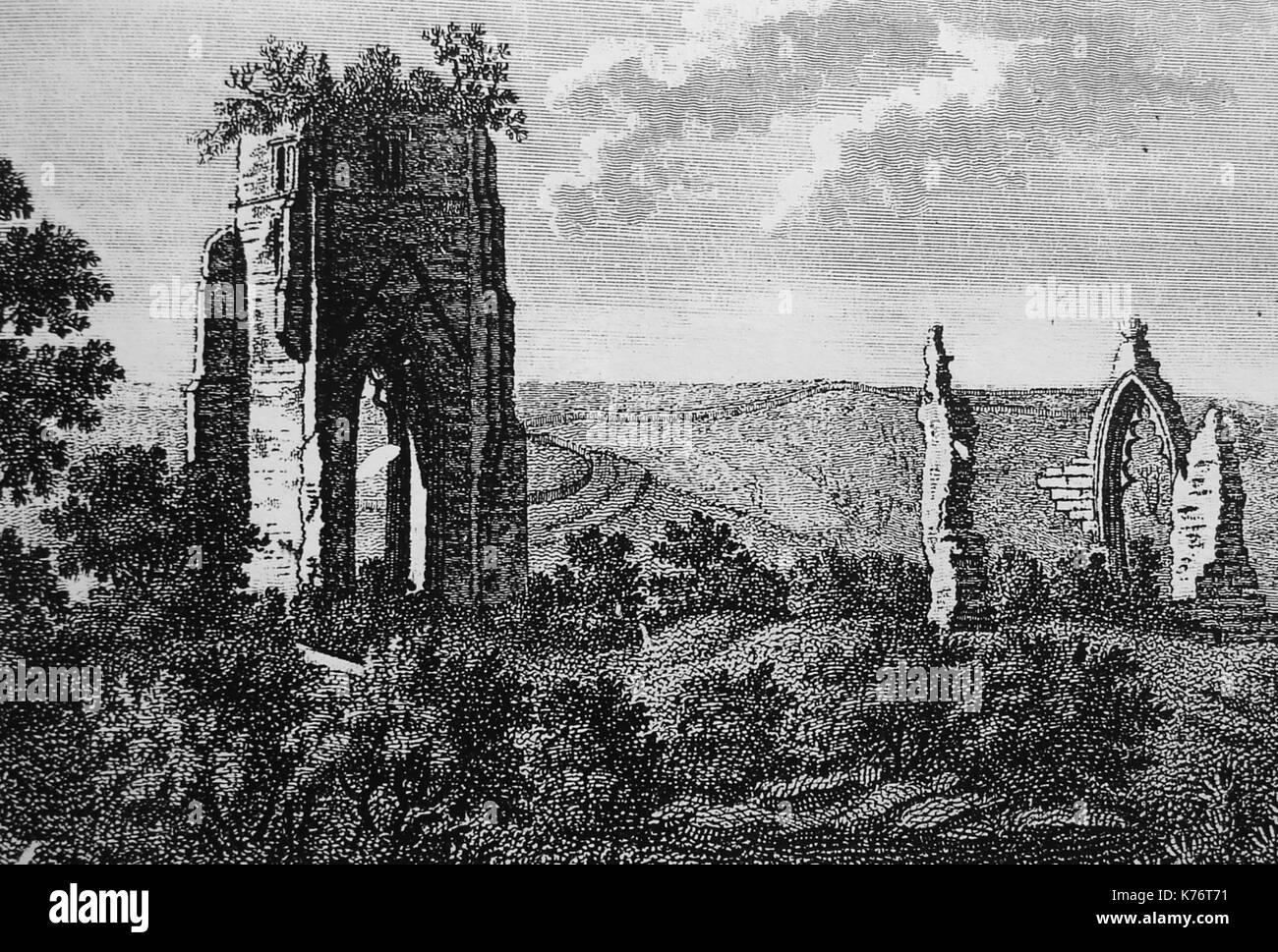 A 1774 engraving of Shap Premonstratensian Abbey(monastery), Westmoreland, UK - Stock Image