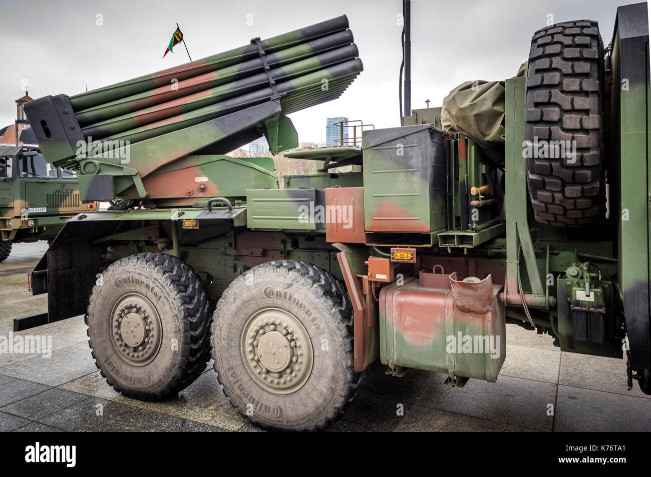 Modern Polish self-propelled WR-40 Langusta multiple launch rocket system used by the Armed Forces of the Republic of Poland - Warsaw, Poland. - Stock Image