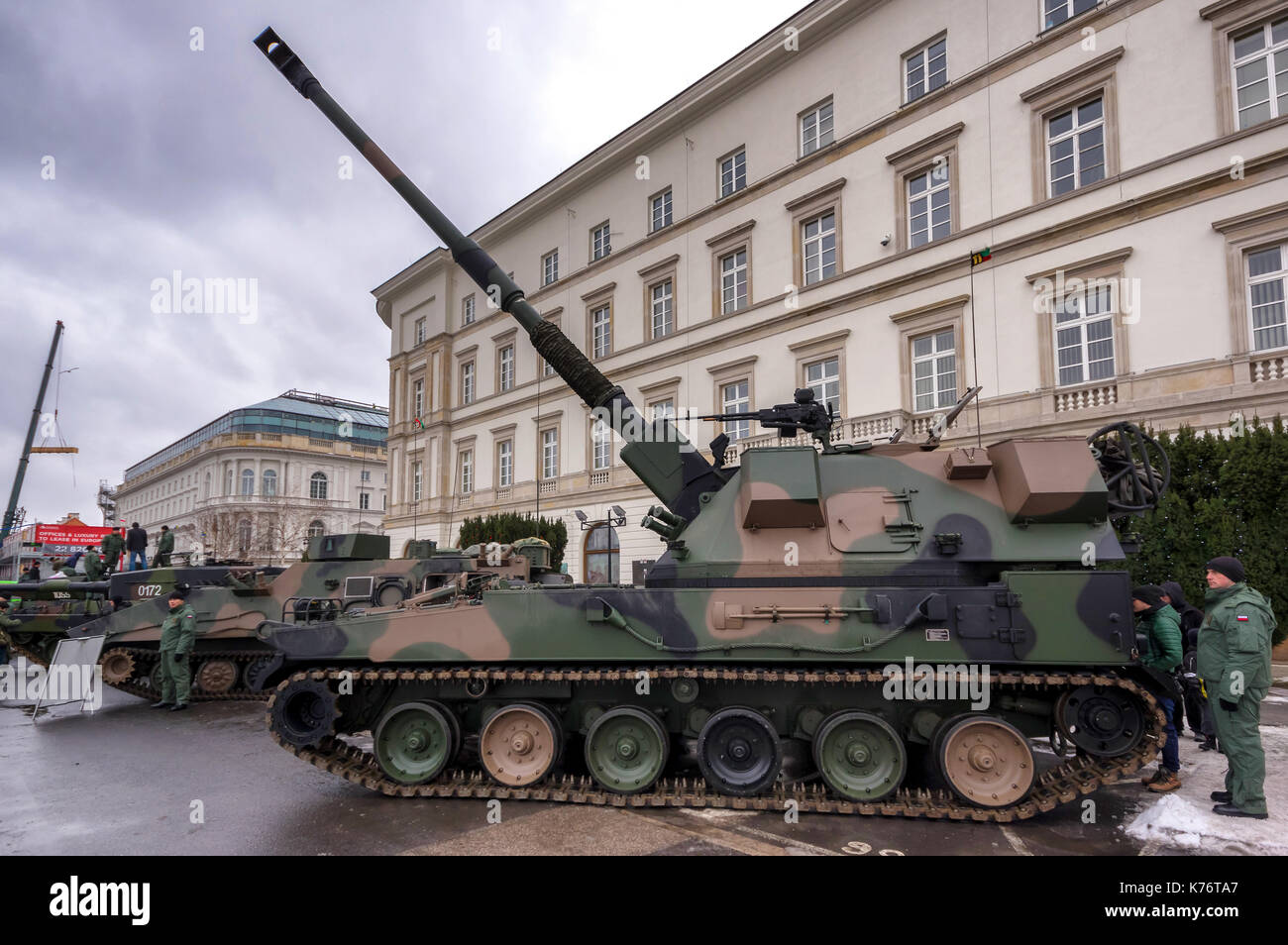 Modern Polish self-propelled AHS Krab 155 mm howitzer used by the Armed Forces of the Republic of Poland - Warsaw, Poland. - Stock Image