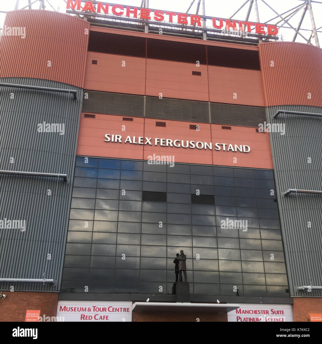 Manchester United Football Club's Old Trafford Stadium, in Manchester, in England, on 14 September 2017. - Stock Image
