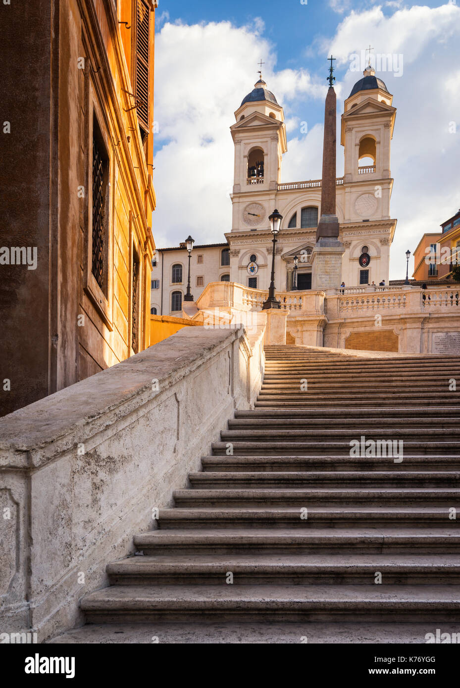 The right side of the famous Spanish Stairs in Rome, capital of Italy and the eternal city - Stock Image