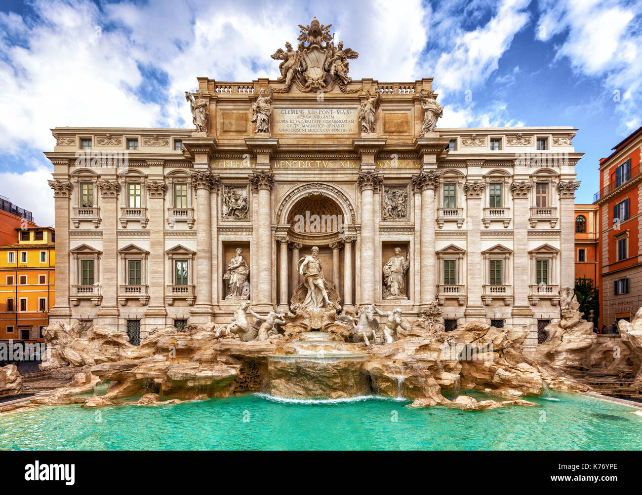 Fontana di Trevi. Big scene with all of the building is in frame. - Stock Image