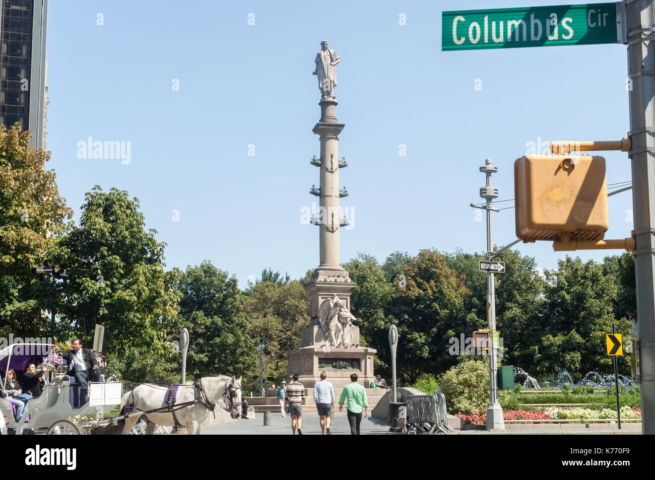 The statue of Christopher Columbus stands in Columbus Circle in New York on Sunday, September 10, 2017. New York Stock Photo