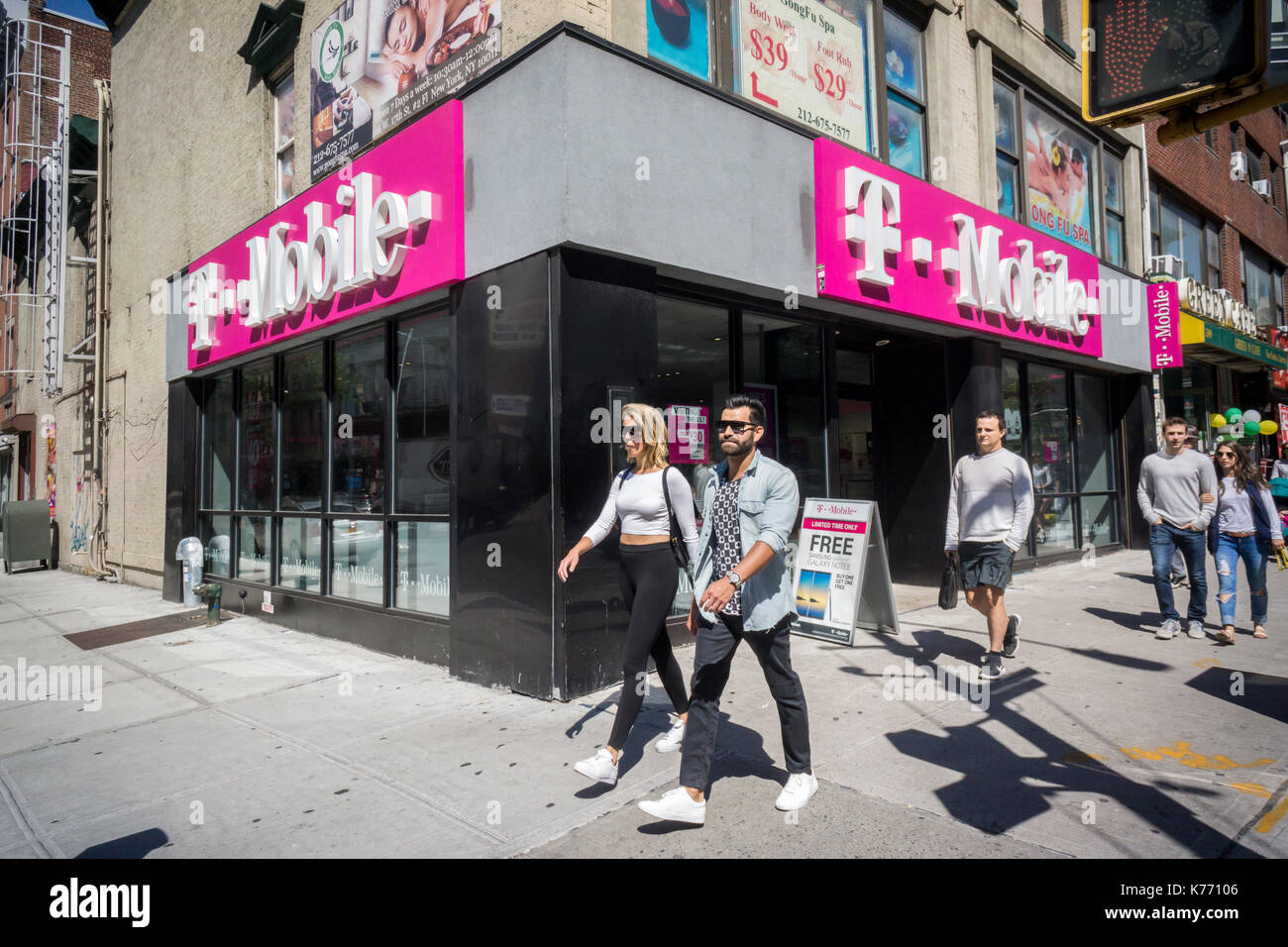 A Magenta T Mobile Usa Store Is Seen In New York On Saturday Stock